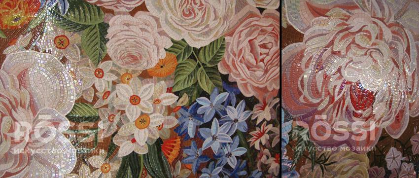 цветы панно мозаика