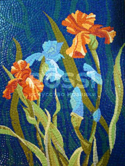 панно цветы мозаика