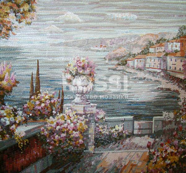 пейзаж панно мозаика